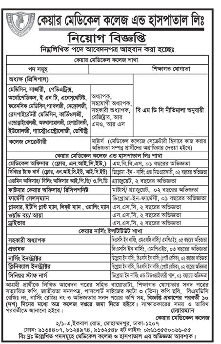 Care Medical College and Hospital Job Circular 2018