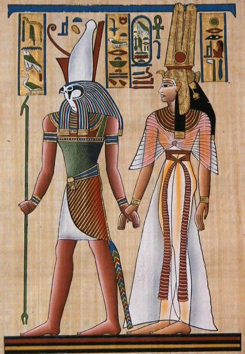 Egyptian god Horus and Queen Nefertari