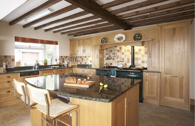 amusing big farmhouse kitchen with l shaped light wood kitchen cabinet with black granite countertop and light wood kitchen table with breakfast bar