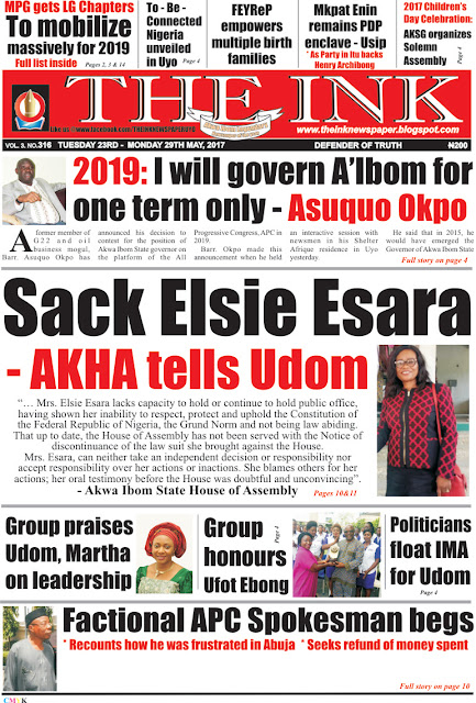 Latest Edition of THE INK NEWSPAPER, Uyo, Akwa Ibom State.