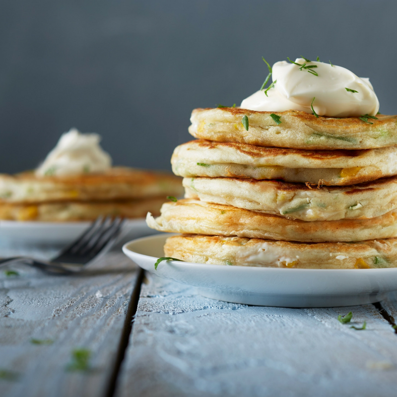 Cheese and Sweetcorn Savoury Pancakes