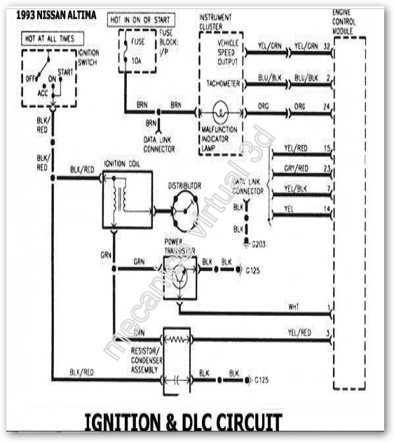 Sistema Encendido Nissan Altima 1993 ~ MECÁNICO VIRTUAL 3D
