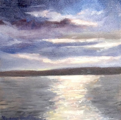 "Sequim Bay Water,  6"" x 6"" Oil on Canvas, © N. Van Blaricom"