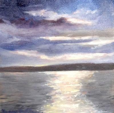 """Sequim Bay Water,  6"""" x 6"""" Oil on Canvas, © N. Van Blaricom"""