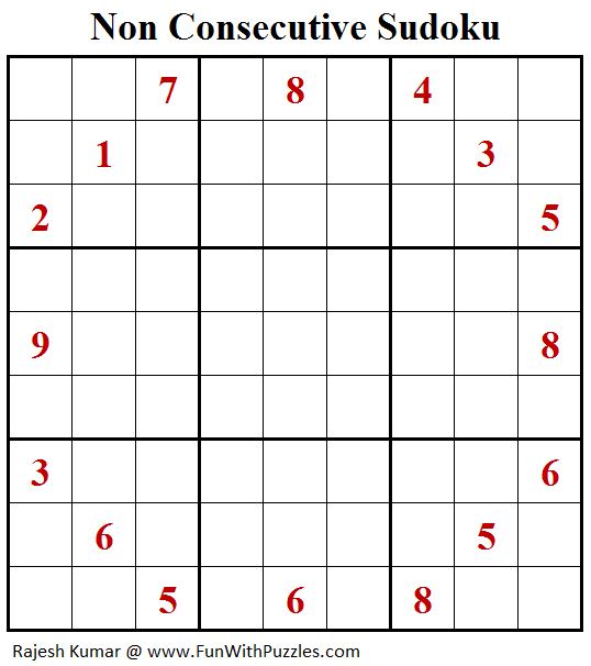Non Consecutive Sudoku (Fun With Sudoku #260)