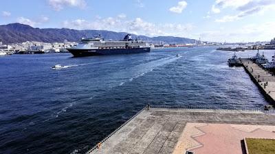 神戸ポートターミナルに入港するクルーズ客船