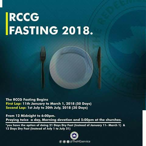 RCCG 50 Days Fasting and Prayer Points in 2018 [First Lap