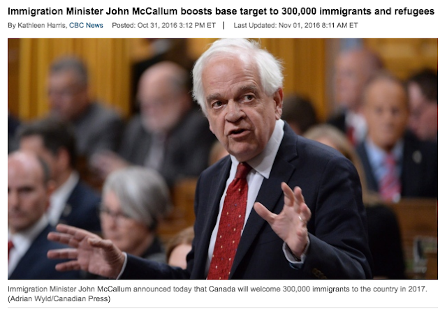 Canada Targets to Accept 300,000 Immigrants for 2017