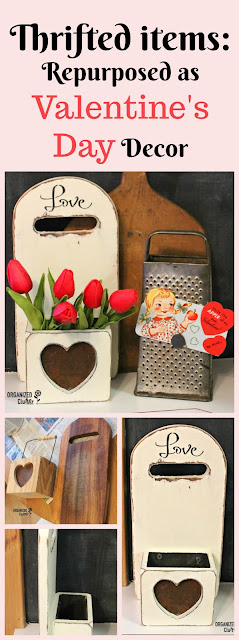 Cutting Board Valentine's Day Display Box #thriftshopmakeover #repurpose #repurposed #upcycle #valentinesday