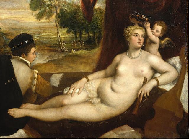 Tiziano Vecellio - Venere e il suonatore di liuto - nudo pittorico femminile