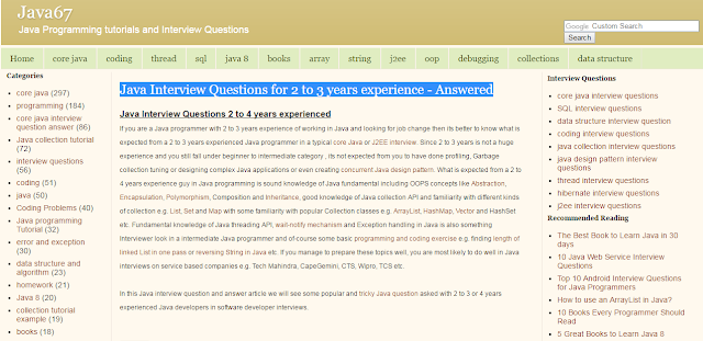 Read More: Http://www.java67.com/2012/10/java Interview Questions  For 2 To 3 4 Years Experienced.html#ixzz4fTsaStbF