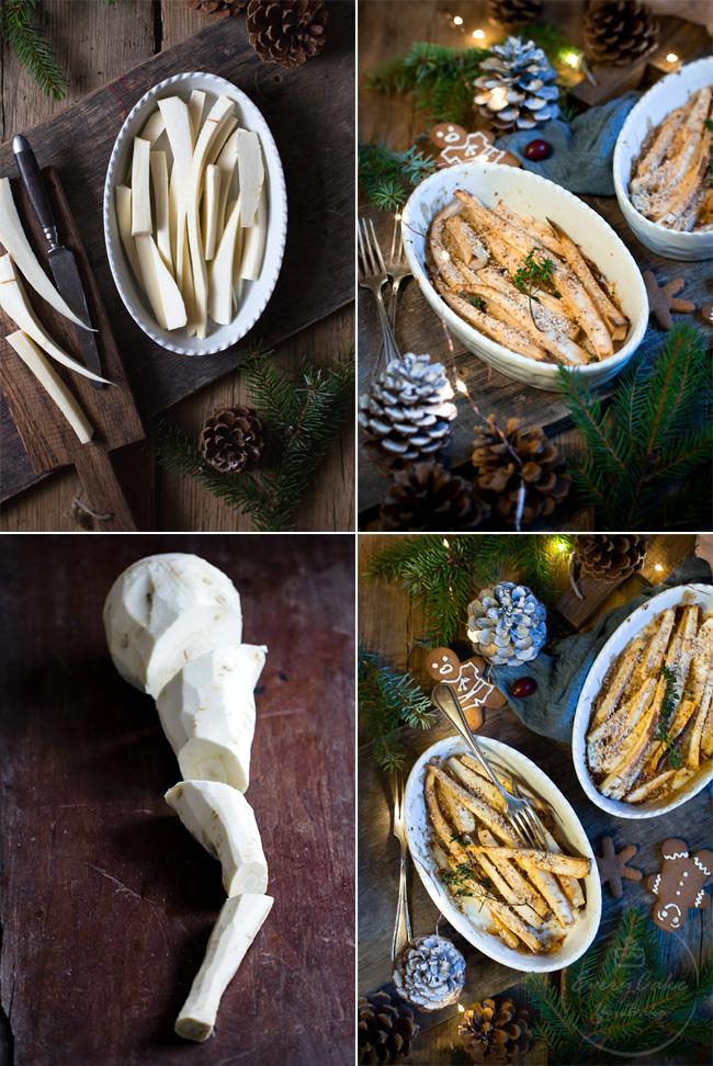 chrupiący pieczony pasternak z miodem, czosnkiem i migdałami