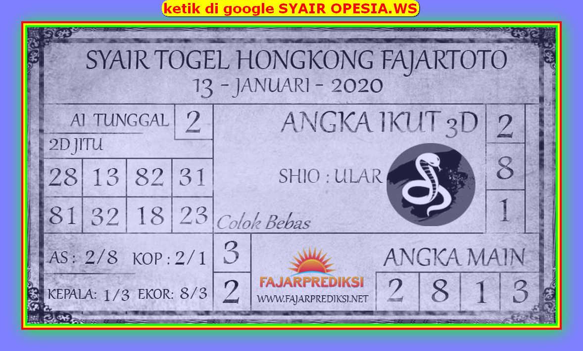 Kode syair Hongkong Senin 13 Januari 2020 95