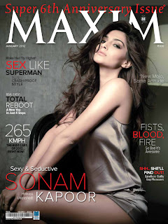 Sonam Kapoor on the cover of Maxim January 2012