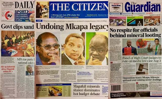 Magazeti ya leo Tanzania