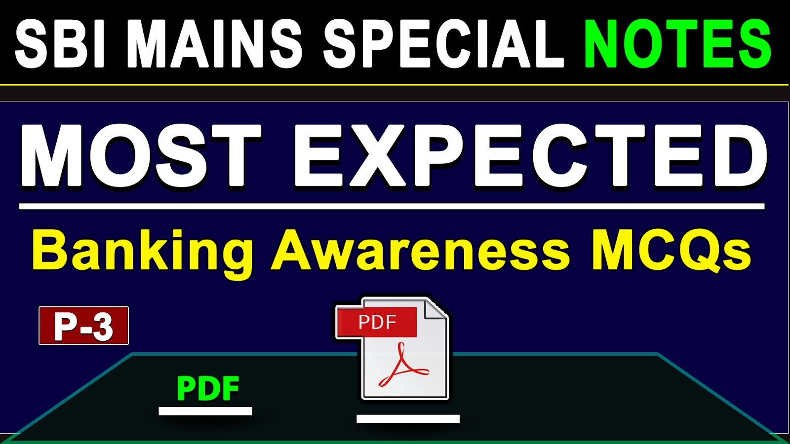 Banking Awareness Quiz for SBI Mains - 3