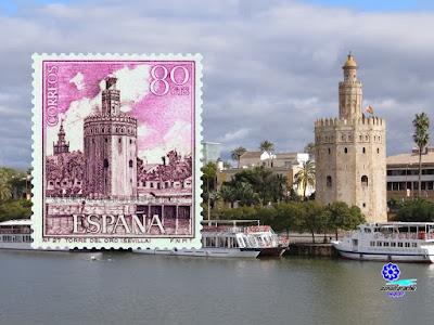 Filatelia - Sevilla - Torre del Oro - Sello emitido el año 1966