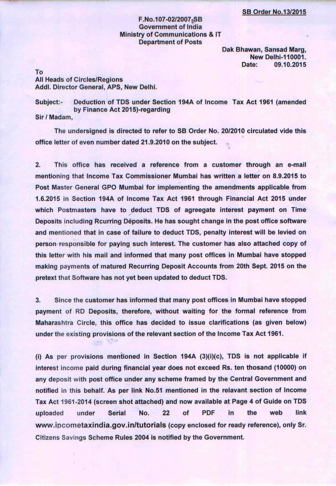 SB Order No. 13 / 2015 : Deduction of TDS under Section ...