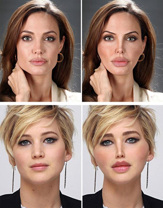 Plásticas - Angelina Jolie e Jennifer Lawrence