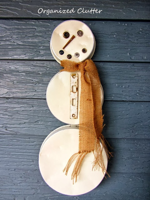 Re-purposed Cake Pan Snowman www.organizedclutterqueen.blogspot.com