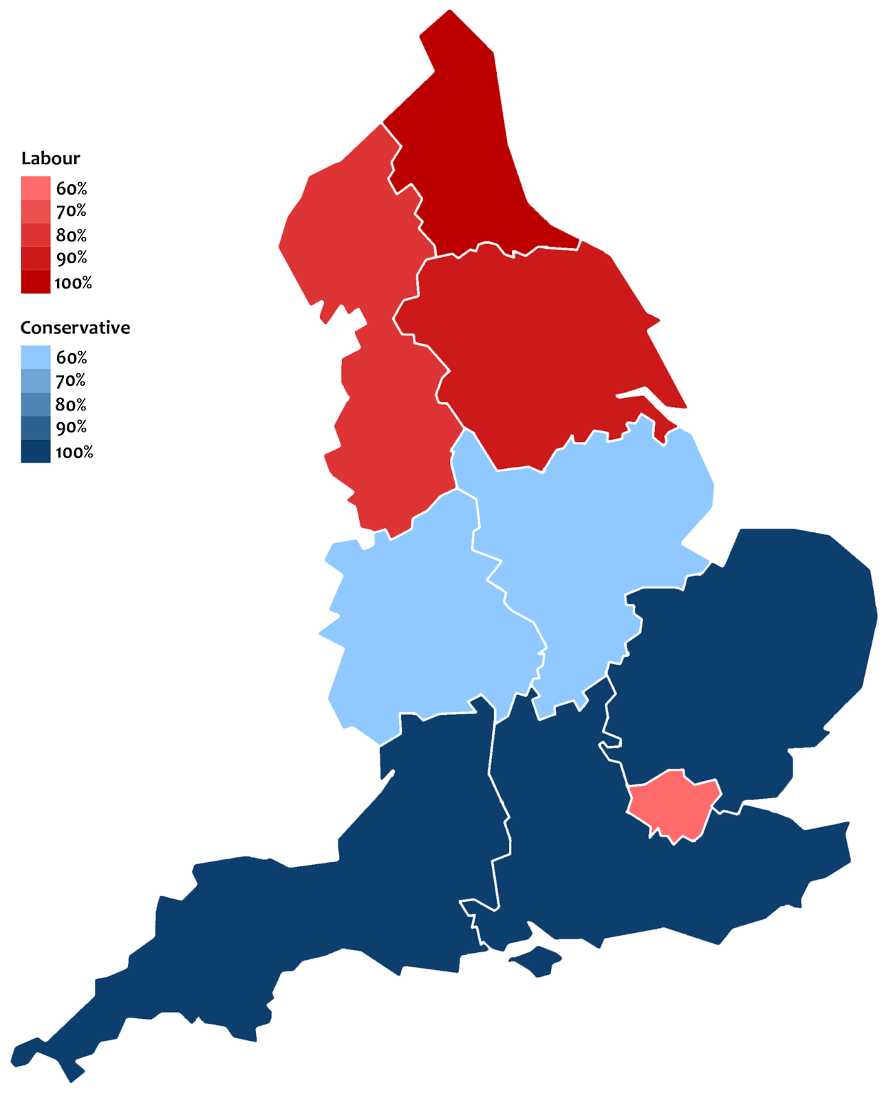 Political leanings of English Regions in the last ten General Elections
