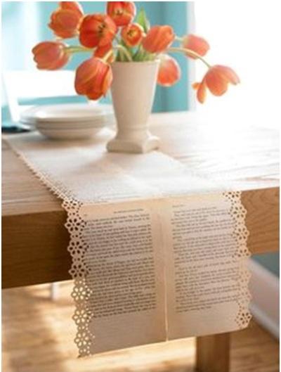 Taplak meja terbuat dari lembaran kertas buku bekas.