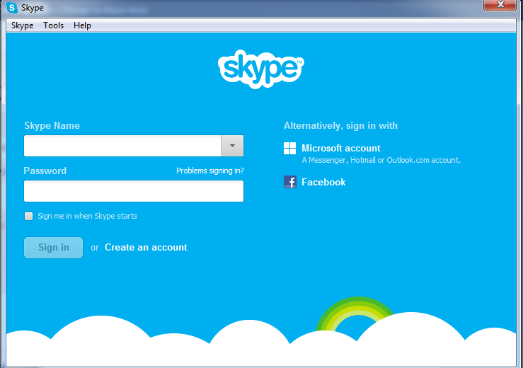 Skype Log in window