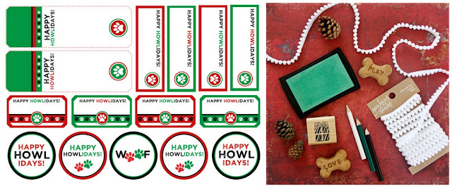 """Red and green printable """"Happy Howlidays!"""" dog treat tags and labels with treats and decorations"""