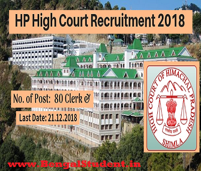 HP High Court job 2018 - 80 Clerk Post - Apply Online- www.bengalstudent.in