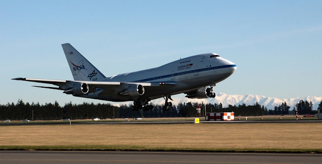 The Stratospheric Observatory for Infrared Astronomy (SOFIA) arrives at Christchurch International Airport on June 6, 2016 to begin observations in the Southern Hemisphere. The aircraft will observe the Southern skies for the next eight weeks using three of the observatory's seven instruments. Credits: NASA Photo