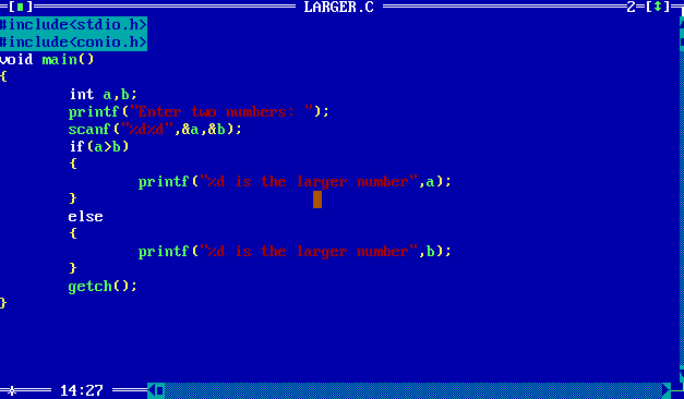 Algorithm, Flowchart and Program code to print the larger of