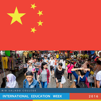 image of China official flag and photo from a busy street in Hong Kong with dozens of shoppers. Text; Rio Salado College International Ed Week, 2016