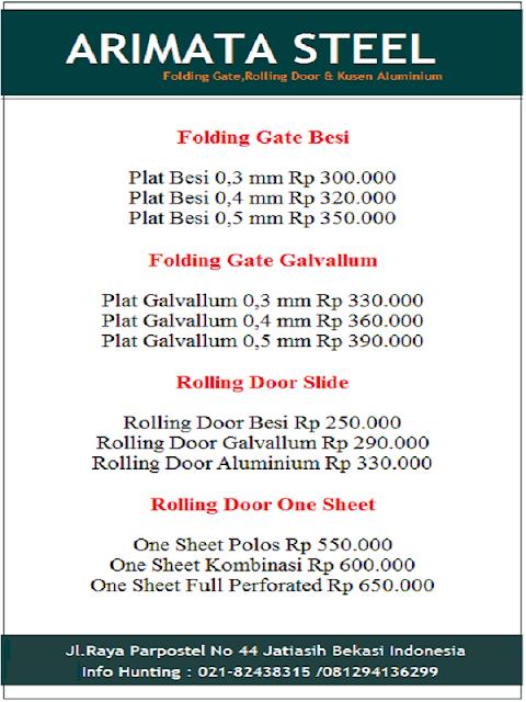 daftar harga folding gate dan rolling door