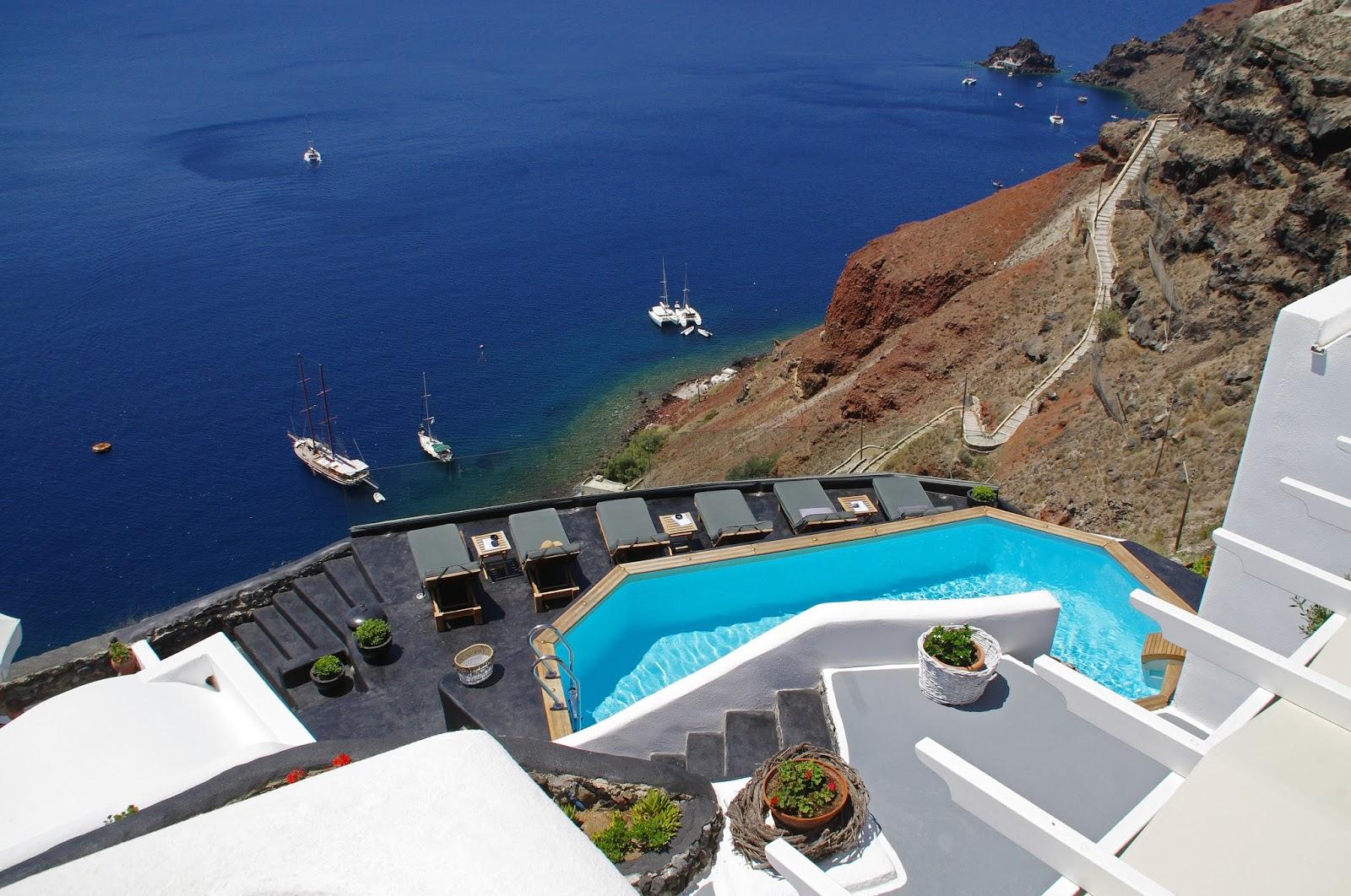 View from Nostos Apartments Oia Santorini