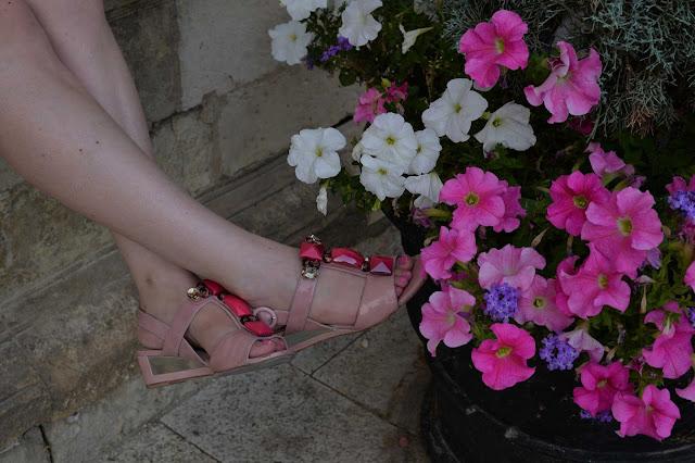 pink embellished sandals flowers