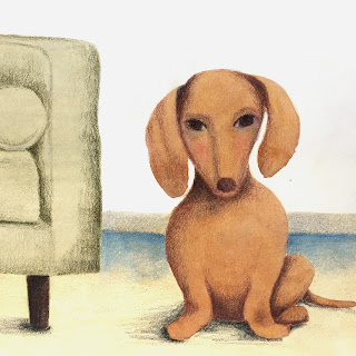 Dachshund next to modern couch illustration in watercolor and colored pencil - by Amy Lamp