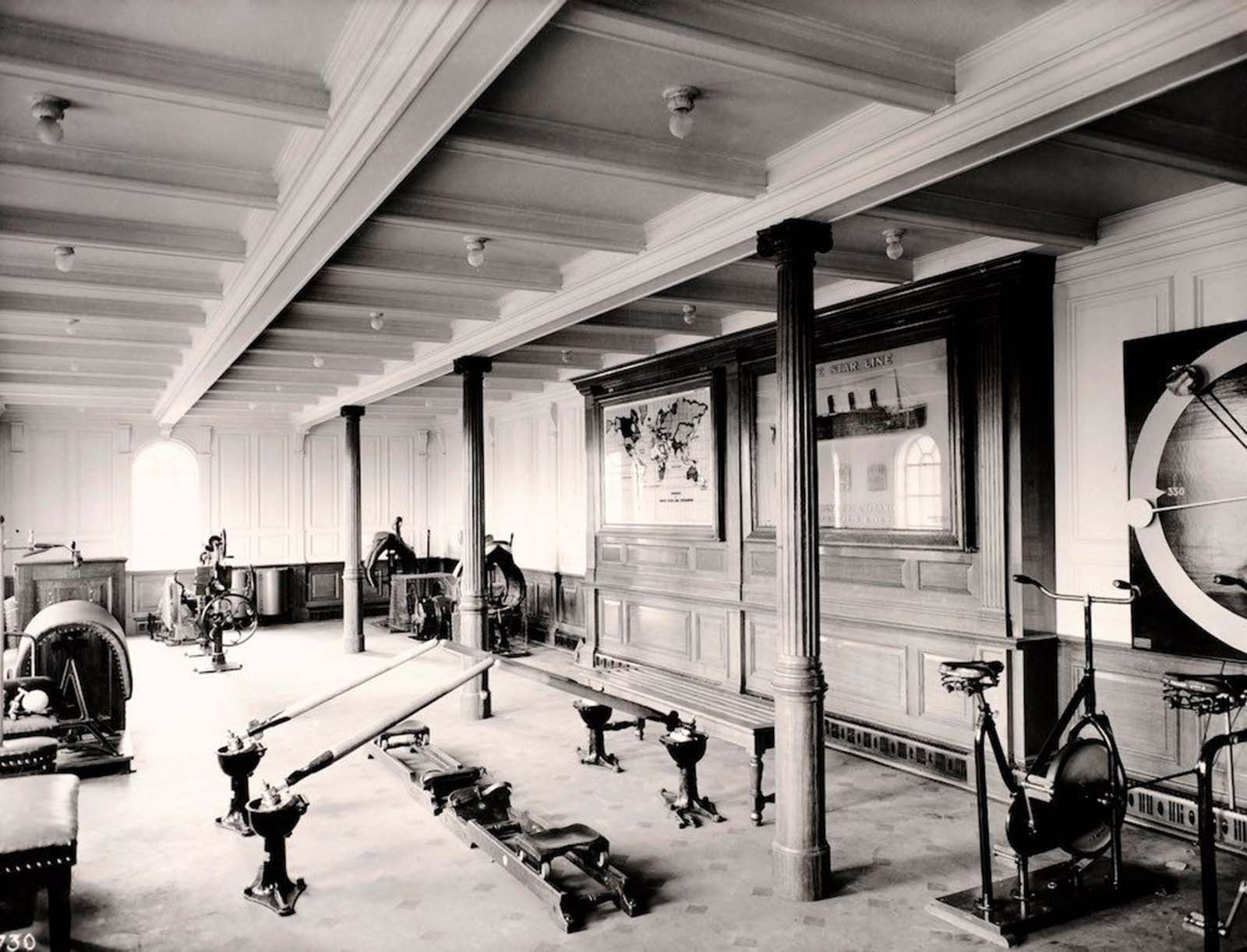 The first class gymnasium on board the Titanic. On the night of April 14, when the ship struck an iceberg, the physical instructor Mr. T. W. McCauley remained at his post and went down with the ship. March, 1912.