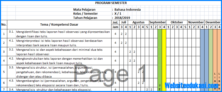 Prota Promes Bahasa Indonesia Kelas 10 K13 Revisi 2018 Websiteedukasi Com