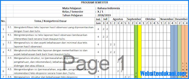 Prota, Promes Bahasa Indonesia Kelas 10 K13 Revisi 2018