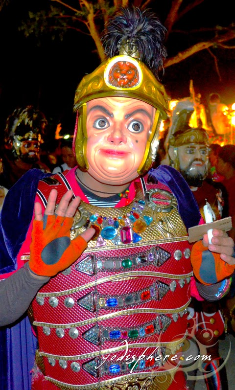 Mask looking like the funny face of Mr. Bean during the Moriones Festival