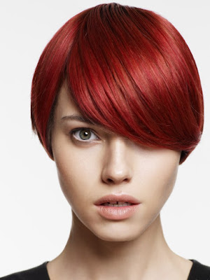 short haircut with ruby red