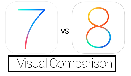 iOS 7 Vs iOS 8 Logo Comparison