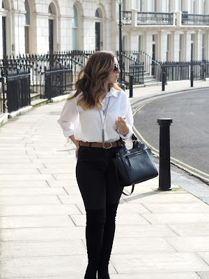 White Shirt, Black Jeans & Over The Knee Boots
