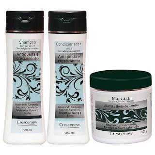Kit com Shampoo, Condicionador e Máscara de Hidratação Capilar Alumã Antiqueda