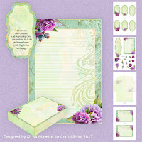 Watercolor Phoenix Asian Floral Stationery Set Decoupage Kit