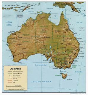 Australia - harta gjeografike të Australisë