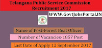 Telangana State Public Service Commission Recruitment 2017-1857 Forest Beat Officer