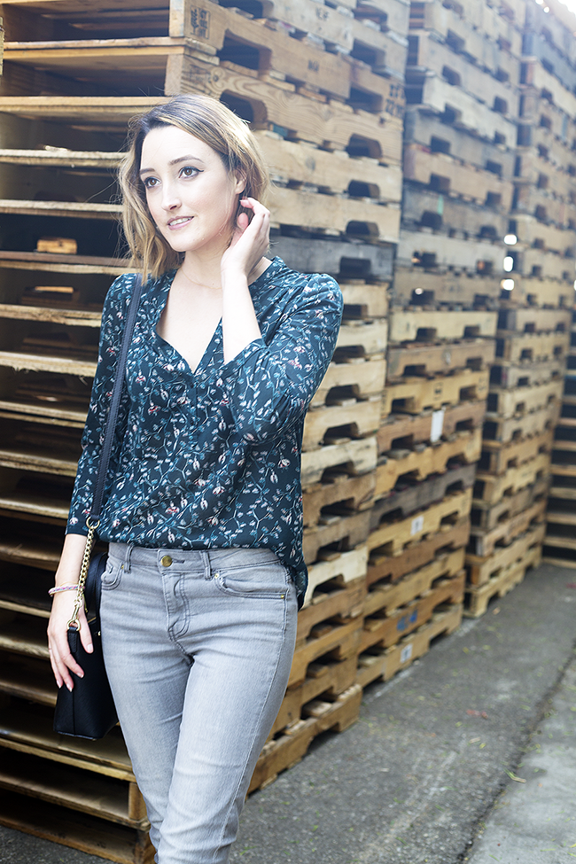 A Good Hue Style: H&M Dark Floral Blouse with Grey Skinny Jeans