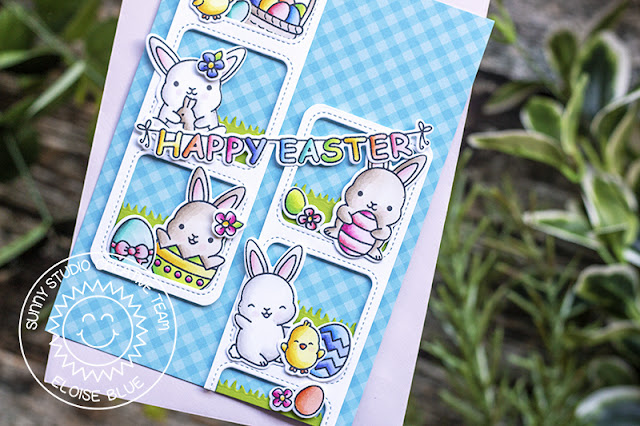 Sunny Studio Stamps: Chubby Bunny Window Trio Dies Easter Card by Eloise Blue