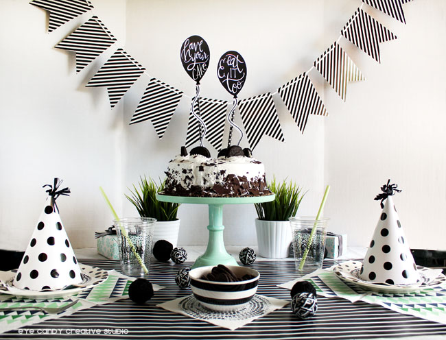 black & white birthday, ice cream cake, birthday idea, party hats